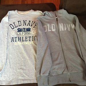 Old Navy tee and hoodie